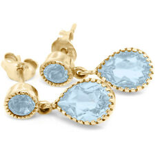 Natural 5.0ct Blue Topaz 9K 9ct 375 Solid Gold Stud Earrings - Bravo jewellery