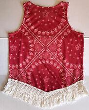 NWT Women's Wrangler All Over Print Fringe Hem Sleeveless Red Tank Top Large New