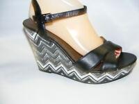 American Eagle Women's Size 9.5 M Black White Open Toe Wedge Heels Sandals Shoes