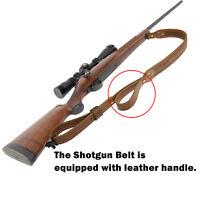 Genuine Leather Rifle Gun Sling  with Handle, Adjustable Hunting Shotgun Strap
