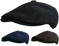 Mens Button Top Flat Cap Tweed Country Caps Bakerboy Hat Newsboy Racing Cap New