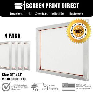 "Ecotex® Aluminum Frame Screen For Screen Printing 20"" x 24"" - 110 White Mesh (4)"