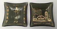 Vintage The Mint, Lucky Casino Tip Trays Glass Ashtrays Lot Of 2 Mini Smoke Gold