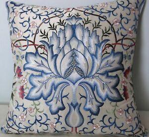 """William Morris, Artichoke, supreme Embroidered Silk, cushion cover, 17x17"""""""