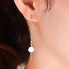 Women Pretty Long Chain Silver Ear Threader Drop Dangle Earrings Jewelry