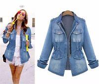 Large Women's Cotton Blue Jeans Denim Jacket Long d Sleeve Trench Coat Outerwear