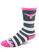 Texas Longhorns For Bare Feet Marbled Pink Melange Stripe Crew Socks