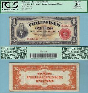 1941 US/Philippines 1 Peso NAVAL AVIATORS Note ~ PCGS VF30 ~ Pick#89c ~ 214E