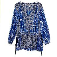 Free People Women's Size Small/Petite Blue Long Sleeve Short Casual Boho Dress