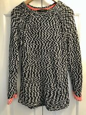 Oui, Chunky Knit Jumper, Gingham Cuffs, Black and White, Size 12/38