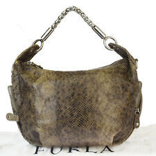 Authentic FURLA Chain Shoulder  Bag Python Skin Leather Brown Italy 07EW625