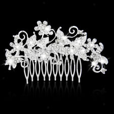 Bridal Wedding Crystal Rhinestone Butterfly Hair Comb Clip Jewelry Silver