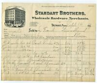 1897 STANDART BROTHERS WHOLESALE HARDWARE CO. BILLHEAD  DETROIT MICHIGAN