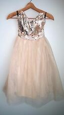 new SOLDOUT asos LITTLE MISTRESS prom sequin tulle midi dress us 4 s gold