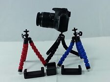 Blue Mini Spider Tripod + Cell Phone Holder Canon Nikon Sony DSLR Camera