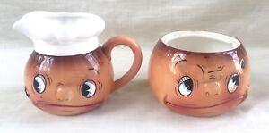 Vintage Mid-Century Anthropomorphic Ceramic Sugar & Creamer - Japan - Ucagco