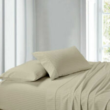 Attached Waterbed Sheet Set - Soft Pima Cotton 1000 TC Beige  Stripe
