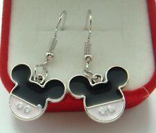 Cute New Silver Pink & Black Enamel Mickey Mouse Hook Charm Dangle Earrings