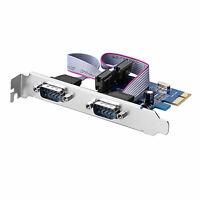 2 Port PCI Express Karte Erweiterungskarte RS232 DB9 Adapter COM Port Seriell