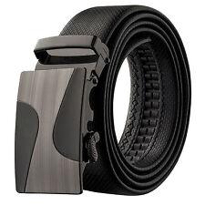 Veronz Men's Wide Black Leather Slide Belt Ratchet Belt Buckle 98B21