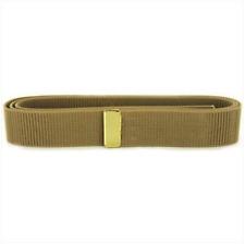 Vanguard Navy Belt: Khaki Nylon With 24K Gold Tip - Male