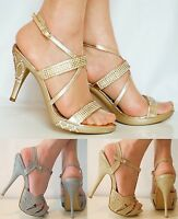 Ladies Glitter Rhinestones Diamante Ankle Strap Platform Heels Sandals Shoe Size