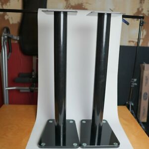 """TransDeco 32"""" High Speaker Stand Glass / Steel in High Gloss Black - Pair Used"""