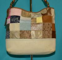 COACH Signature PATCHWORK Multi Leather Suede Purse Hobo Shoulder Bag #2191