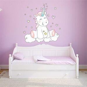 WANDTATTOO Wandsticker Aufkleber Kinderzimmer Schlafzimmer Unicorn Einhorn cutie