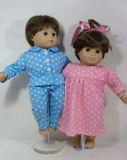 MATCHING Pink Blue PAJAMA Pjs Nightgown Doll Clothes For Bitty Baby Twins (Debs)