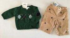 NWT Janie & Jack Teddy Bear Holiday 0-3 Months Embroidered Pants Argyle Sweater