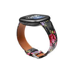 3 / Sense Replacement Wristband Strap Leather Watch Band for Fitbit Versa