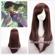 60cm New Overwatch OW D.VA Long Straight Dark Brown Cosplay Wigs +free wig cap