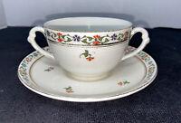 John Maddock & Sons England  Royal Ivory Minerva Soup Cream Bowl And Saucer