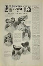 1903 Impresión ~ Moda Sombrerería para Primavera para Mujer Hats Louis Vogues