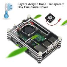 Acrylic Clear Protective Case Enclosure Box Cooling Fan Kit for Raspberry Pi 3