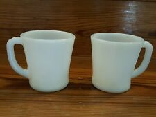 Vintage Set Of 2 White Oven Ware Fire King D Handle Diner Coffee Mugs