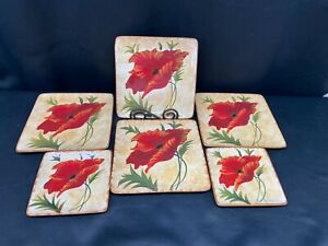 """Pier 1 Imports """"POPPIES"""" Earthenware ~ (4) Square Salad ~ (2) Bread Plates"""