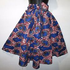 Skirt Fits M L XL 1X Plus African Wax Print Ankara Blue Red Hearts NWT 16321
