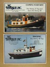 1986 Victory 37 & 49 Tugs Tug boat Tugboat color photo 2 vintage print Ads