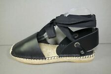 DIOR 40 Black Leather Nicely-D Espadrilles SOLD OUT Ankle Strap Tie Flats NEW