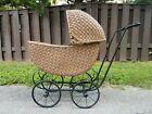 Antique Lloyd Loom Victorian Wicker Baby Stroller Buggy Doll Carriage Pram