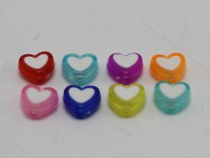 Mixed Candy Color Cute Acrylic Beads White Center Pick Your Shape