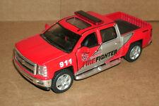 1/46 Scale 2014 Chevy Silverado Fire Dept Pickup Truck Diecast - Kinsmart KT5381