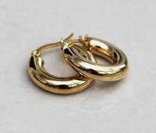 14k Yellow Gold Over Classic Small Chunky Huggies Hoops Earrings