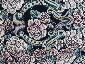 Goodwin Weavers 100% Cotton Dark Navy Floral Tapestry Throw Blanket Wall Art Vtg