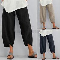 US STOCK Womens Elastic Waist Loose Harem Pants Wide Legs Cropped Long Trousers