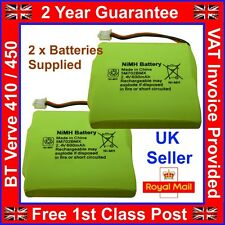 2 x New BT Verve 410 450 Twin Rechargeable Phone Batteries NiMH 2.4v 600mah UK