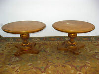 Pair Vintage Hollywood Regency Gold Gilt Round End Tables Carved Night Stands