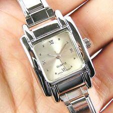 Square Silver White Italian Charm Bracelet Watch BB03